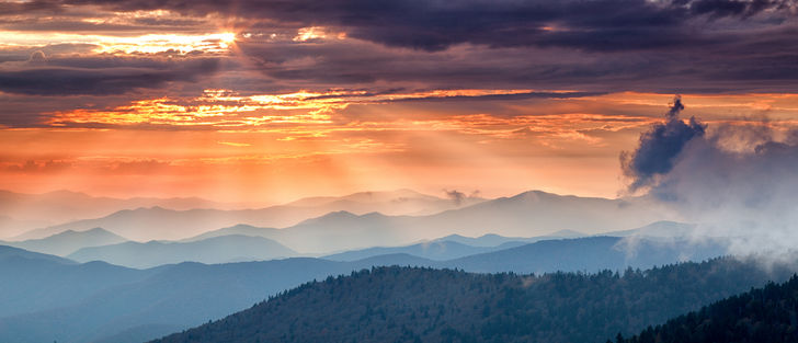 Hero great smoky mountains at sunset